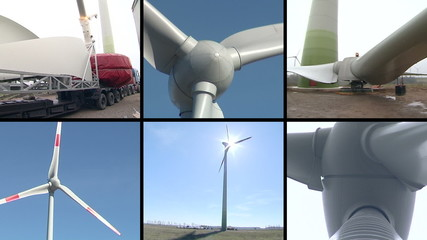 Wind turbine parts assembly works. Windmills spin. Video collage