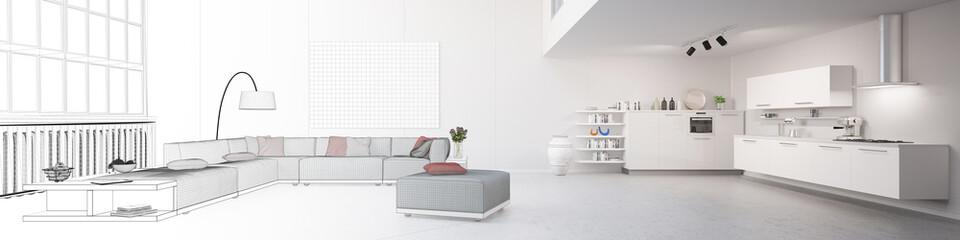 Panorama mit Planung einer Wohnküche