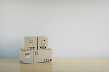 Hintergrund mit Wohnung und Umzugskartons