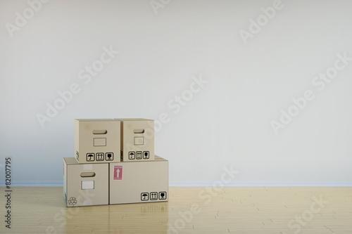 Hintergrund mit Wohnung und Umzugskartons - 82007795