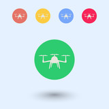 Drone, Tricopter, Multicopter round color flat icons poster