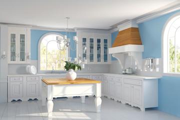 Küche mit blauer Wand in einem Haus