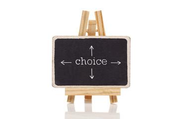 Choice drawn with chalk on blackboard