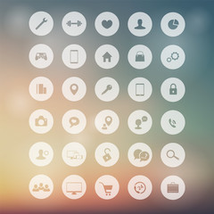 30 flat icons for web, apps development on blur background