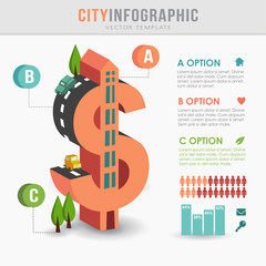 Flat 3D city infrastructure infographics, dollar shape