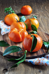 Clementines on a wooden table