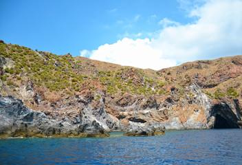 beautiful blue grotto in coast ustica