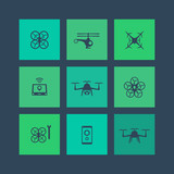 Drones, Tricopter, Multicopter, Quadrocopter square flat icons poster
