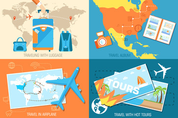 tour of the world banners concept. Tourism with fast travel on a