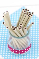 White and black chocolate sticks wtih vintage style