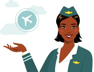 Beautiful african american ethnic stewardess in flat style