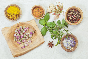 Assortment of spices and herbs