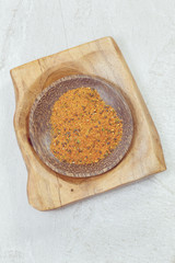 Togarashi.Japanese seven spice in a small bowl