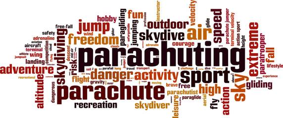 Parachuting word cloud concept. Vector illustration
