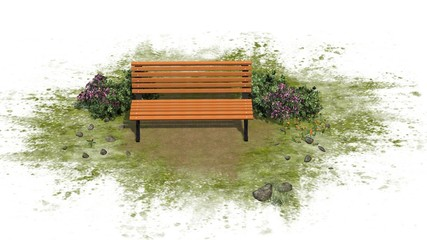 Park Bench with bushes on white background