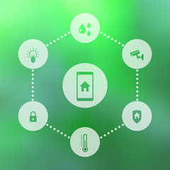 Smart house mobile app icons on green blur background, eps10