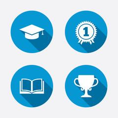 Graduation icons. Education book symbol.