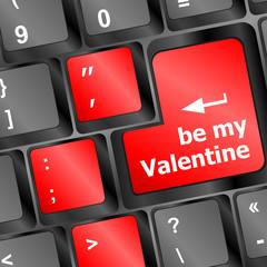 Computer keyboard key - Be my Valentine vector