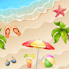 Summer  illustration with starfish and palm tree.