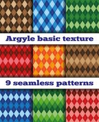 Set Argyle seamless texture vector