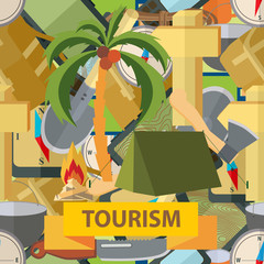 Seamless illustration. Tourism.