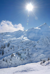 Vorarlberg Montanfon Skigebiet Skipiste Skilift Berghütte