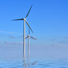 Wind turbines in the sea