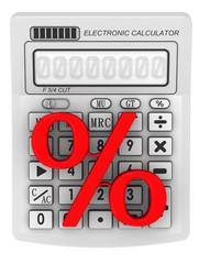 Красный символ процента лежит на электронном калькуляторе