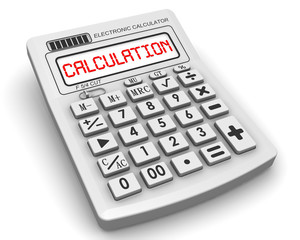 Calculation.  Inscription on the electronic calculator