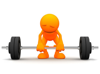 3d Guy: Man Ready to Lift Barbell