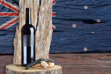 bottle of wine with Australian flag in the background