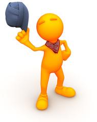 3d Guy: Orange Man in Train Engineer Hat