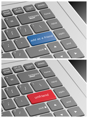 Laptop Keyboard with Add as a Friend and Unfriend Buttons