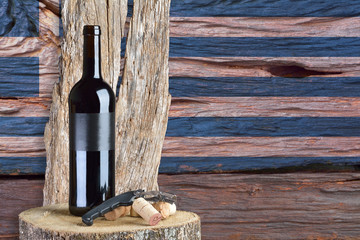 Bottle of Wine with Greece flag in the background