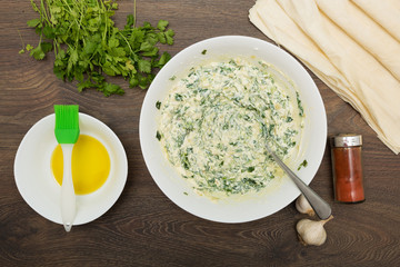 Cooking Greek feta and spinach pie