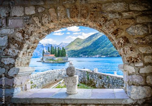 Leinwanddruck Bild Island monastery St. George near Perast