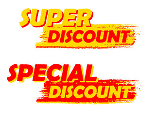 super and special discount, yellow and red drawn labels