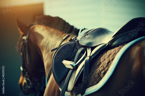 Plexiglas Paardensport Saddle with stirrups on a back of a horse