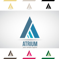 Blue and Green Logo Shapes and Icons of Letter A