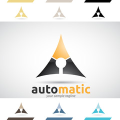 Orange and Black Logo Shapes and Icons of Letter A