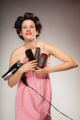 funny girl styling hair holds many accessories