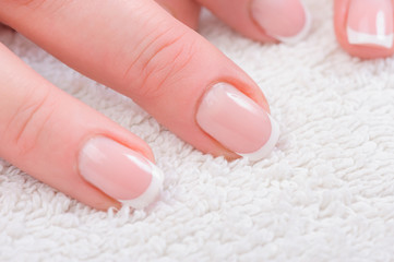 Fingers with french manicure
