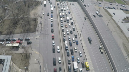 Aerial view of a busy street in Moscow