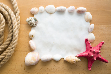 frame with copy space decorated by seashells and red starfish
