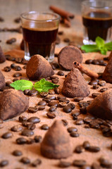 Homemade chocolate vanilla and coffee truffles.