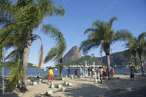 Brazilians Exercising Outdoors at Sugarloaf Mountain - 82019101