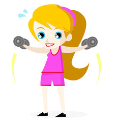 una mujer haciendo ejercicios con pesas