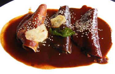 Enchiladas in mole sauce