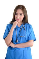 Female doctor in blue uniform.