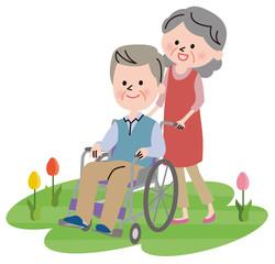 シニア 夫婦 車椅子